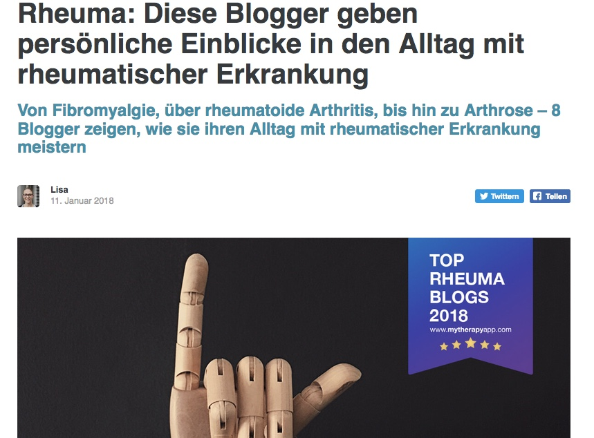 Bildschirmfoto Top Rheuma Blogs 2018 von MyTherapy