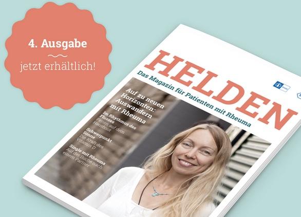 Lisa von RheumaOptimist auf dem Titel des Rheuma-Helden-Magazins (©Roche Pharma AG / Chugai Pharma Ltd.; Bilder auf www.Rheumahelden.de).